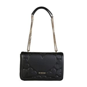 Love Moschino Black Crossbody Bag with gold chain